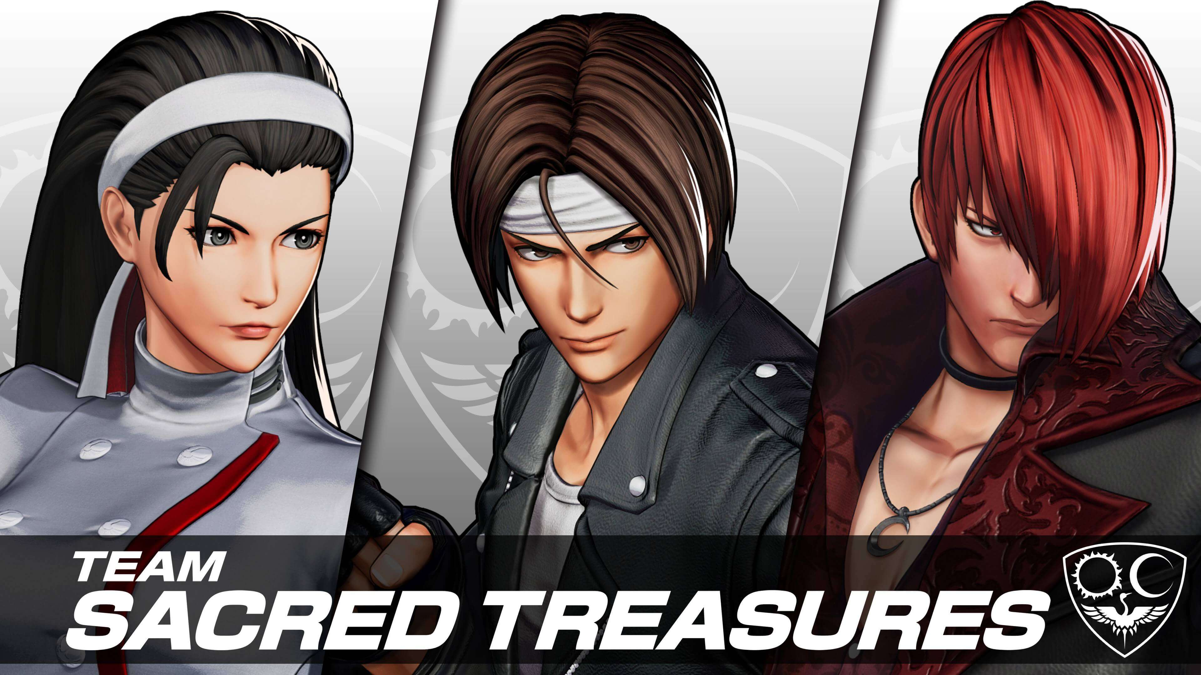 New characters in King of Fighters XV - Chizuru Kagura, Kyo Kusanagi, and Iori Yagami from Team Sacred Treasures