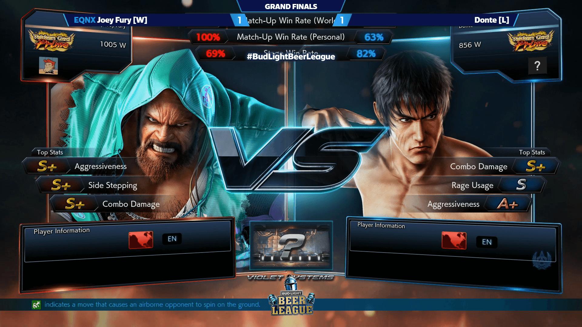 Joey Fury Wins Bud Light Beer League Tekken 7 East 3