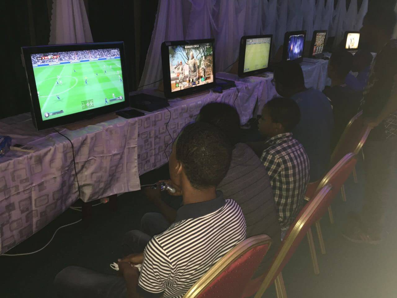 African kids at a gaming center