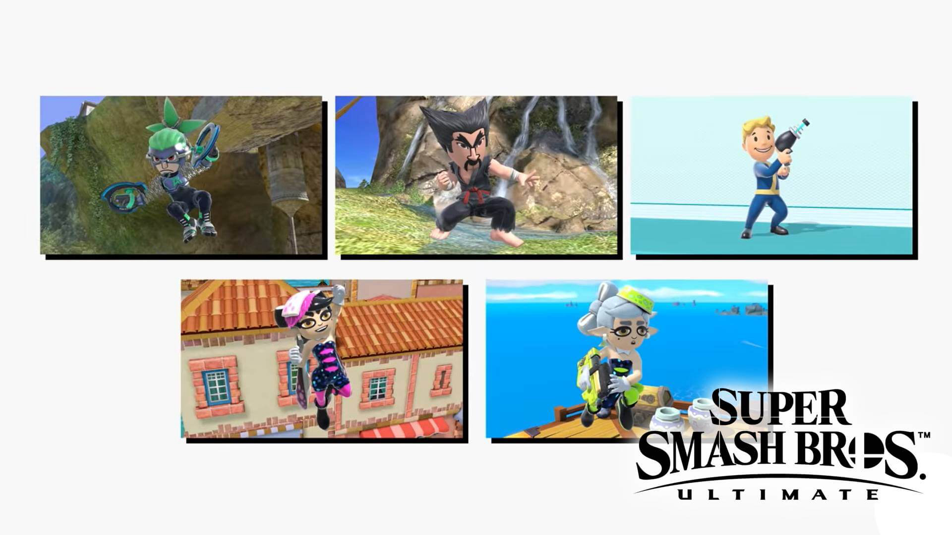 All Mii Fighters of the Update 8.0.0 in Super Smash Bros. Ultimate