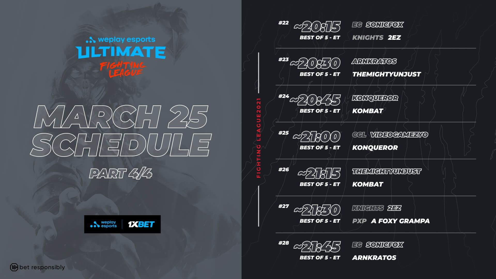 MK11 WUFL Season 1 - Dy 1 Schedule