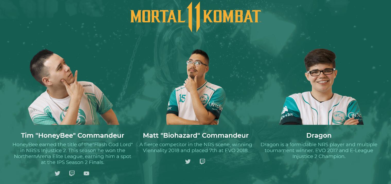 Mortal Kombat 11 pro players of the team beastcoast: HoneyBee, Biohazard, and Dragon