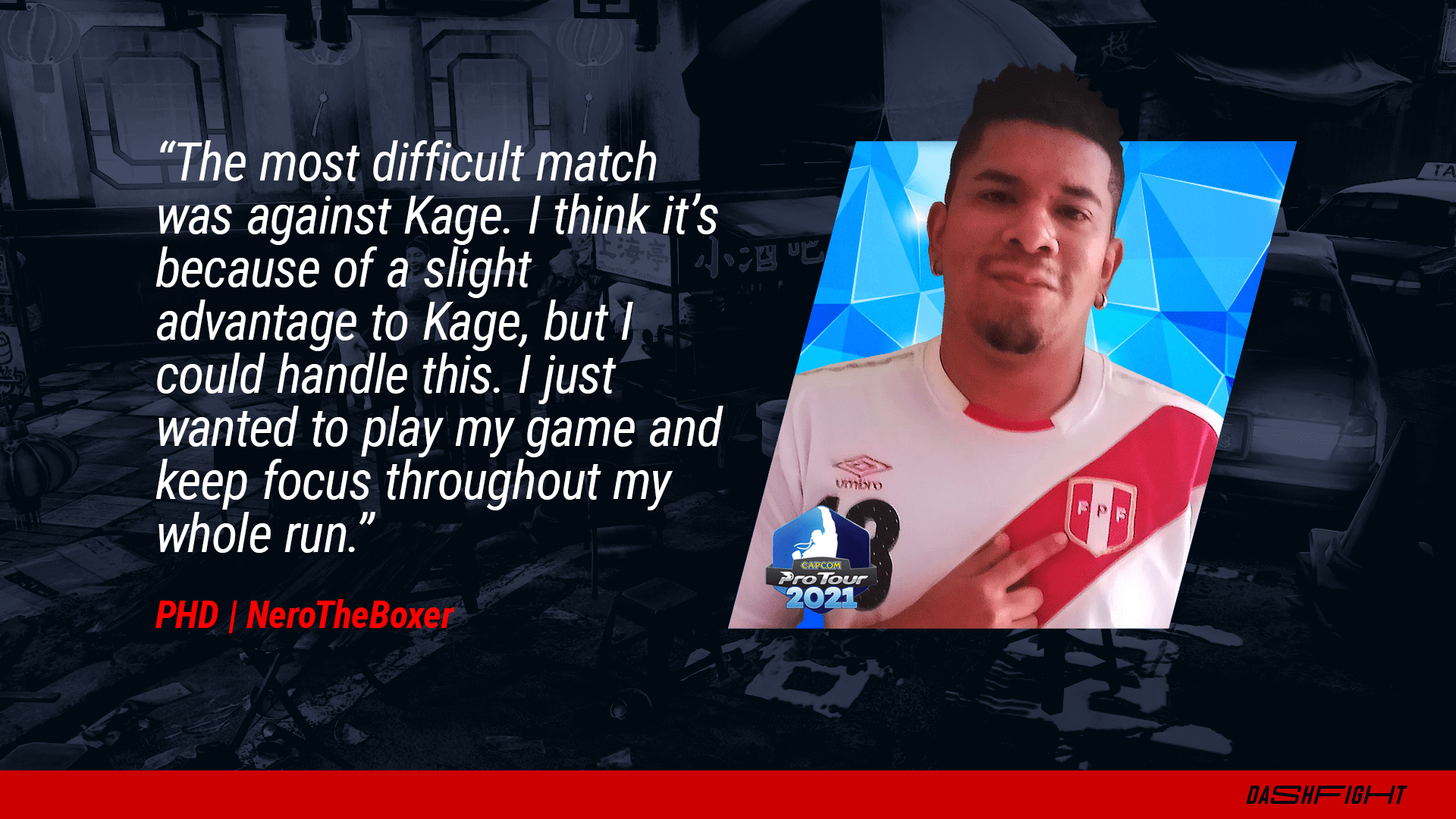 DashFight interview with the SFV player NeroTheBoxer - a quote image